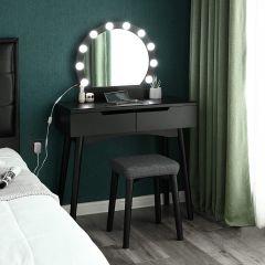 Make-uptafel Axelle met verlichting en krukje - zwart