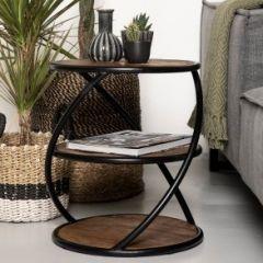 Table basse Tower ø43cm - bois de manguier/fer
