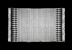 Vloerkleed - katoen - 180x70 cm - zwart / wit