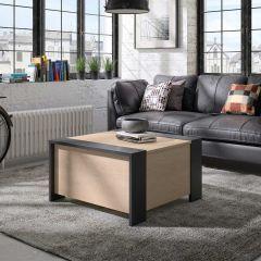 Table basse avec rangement Laure - noir/châtaigne