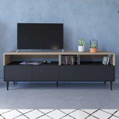 Tv-meubel Horizon 180cm - eik/zwart