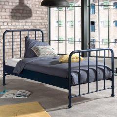 Lit simple Bronxx métal 90x200 - bleu denim mat