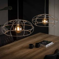 Hanglamp 2x Ø50 Disk massief - Grijs