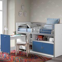 Halfhoogslaper met bureau Bonny 91 - blauw