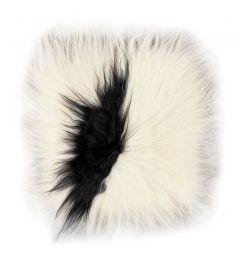 Coussin de chaise Lambskin 37x37 Peau d'animal, carré - Blanc/noir