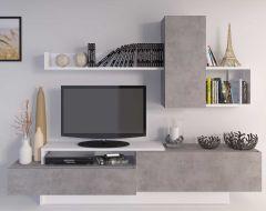 Tv-meubel Cosmit - beton/wit