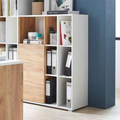 Bibliothèque & armoire de rangement Lloris avec 1 porte - blanc/chêne