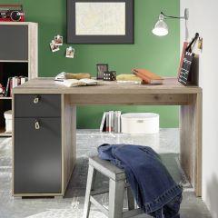 Bureau Moleskin 130 cm met 1 deur & 1 lade - antraciet/old style