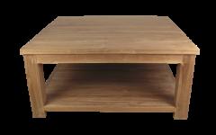 Table basse avec plateau inférieur - 60x60 cm - teck