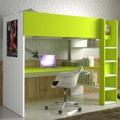 Hoogslaper Beau met bureau - wit/groen