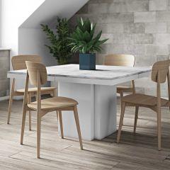 Eettafel Dusk 130x130 - wit marmer