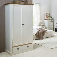 Garde-robe Silia 104cm avec 2 portes & tiroir - blanc/naturel