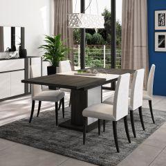 Table à manger extensible Gaston pied fût - noir fil/blanc