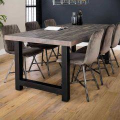 Table à manger Ron 200x100 industriel - acacia grey wash