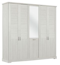 Kledingkast Wanda 230 cm 5 deuren & spiegel - wit kastanjehout