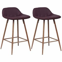 Set van 2 barstoelen Steady 4 poten - bordeaux