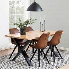 Table à manger Wallace 160x90 avec pieds croisés - chêne/noir