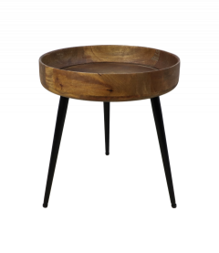 Table d'appoint Ventura - ø40 cm - bois de manguier / fer - naturel