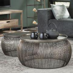 Ensemble table basse - 2 fils Alu top - Bronze antique