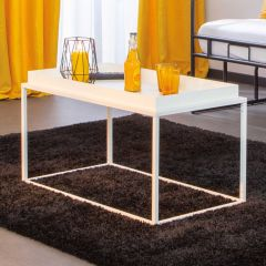Table basse Club 80x45 métal - blanc