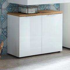 Meuble sous lavabo Sepp avec 2 portes - blanc/chêne