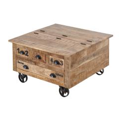 Table basse Argon 90x90 avec 4 tiroirs - bois de manguier
