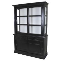 Vaisselier Provence 150cm à 4 portes & 2 tiroirs - noir/blanc