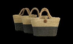 Mandenset Malibu - zwart / naturel - zeegras - set van 3