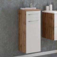 Armoire de salle de bains Sefa 30cm 1 porte et 1 tiroir - chêne/blanc