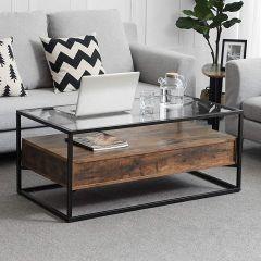 Table basse Ayman plateau en verre 106x60 - brun/noir