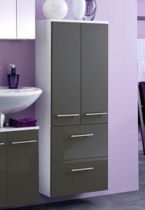 Armoire salle de bains Small 50cm 2 tiroirs & 2 portes - gris brillant