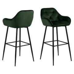 Lot de 2 chaises de bar Bridget - vert/noir