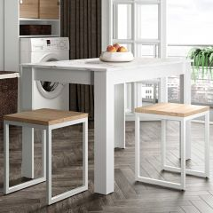 Eettafel Nice 110 cm - wit/marmer