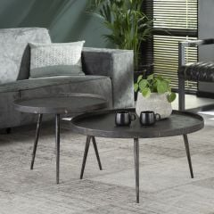 Set de 2 tables basses Lima ø76 industriel - gris