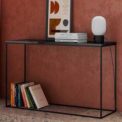 Sidetable Gleam 120cm - zwart marmer/staal