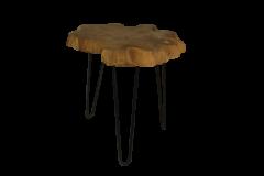 Salontafel met hairpin poten - ijzer / teak