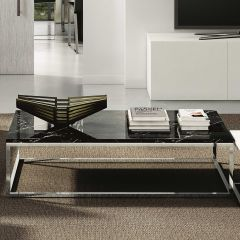 Table basse Prairie - marbre noir/chrome