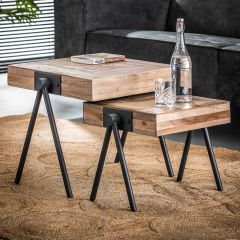Set de 2 tables d'appoint Teca balance 50x50 - teck vieilli