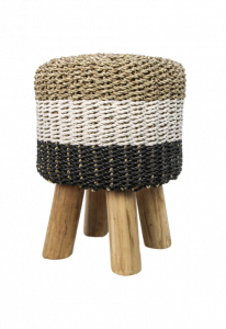 Kruk Malibu - ø33 cm - raffia / zeefgras - naturel / wit / zwart