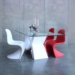 Table à manger Bresse 200cm - blanc/verre