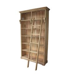 Bibliothèque Yvon avec escalier - teck