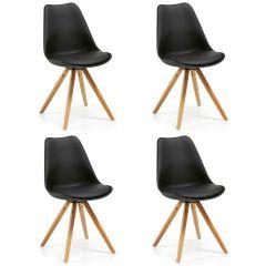 Lot de 4 chaises Ralf bois/plastique - noir