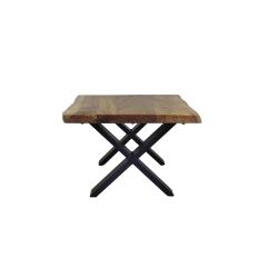 Table basse SoHo - 50 cm - acacia / fer - laqué époxy noir