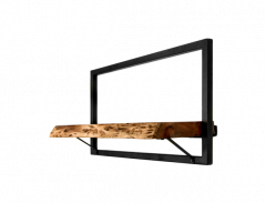 Wandplank Levels Live Edge - 56x32 cm - acacia / ijzer