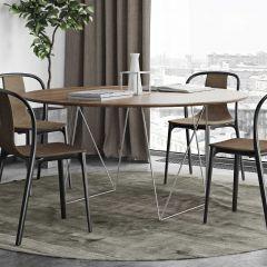 Eettafel Row Ø150 - walnoot/chroom
