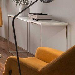 Table d'appoint Chams 120cm - marbre blanc/chrome