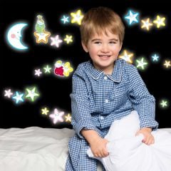 Muurstickers Smiling Stars Glow in the dark