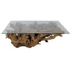 Salontafel Henk 120x70 - glas/teak wortelhout