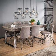 Table à manger Emma 200x95 industriel - bois de mangue