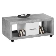 Table basse Stanno 115cm avec 2 tiroirs - béton/blanc